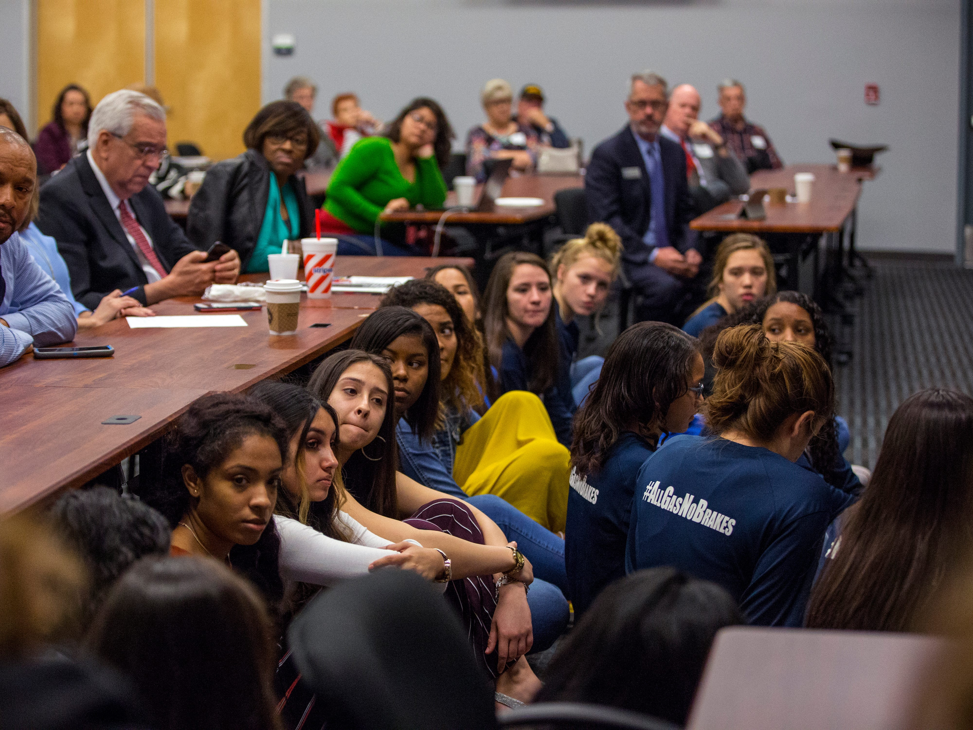 Students from Veterans Memorial and West Oso High Schools listen as fellow students participate in a panel on suicide prevention and schools at the Del Mar Center for Economic Development on Monday, December 17, 2018. The students provided a prospective on what changes could be made to help students.