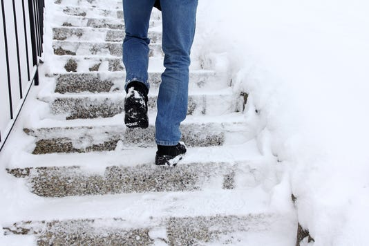 Risk Of Slipping When Climbing Stairs In Winter