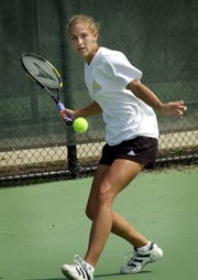 From August 2000, Audra Falk of Cincinnati Christian Academy was the two-time defending Division II state tennis champion.