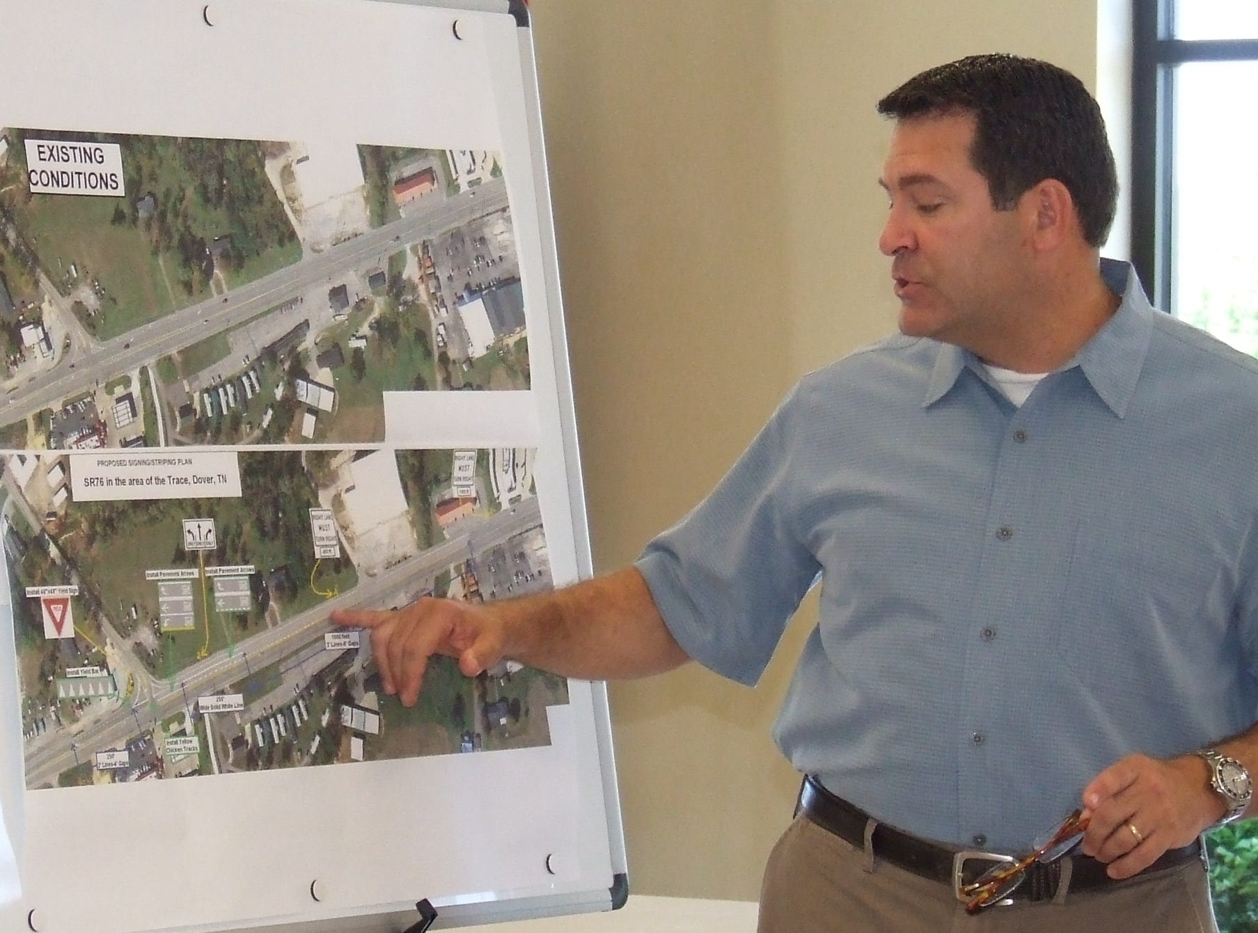 State Sen. Mark Green details the welcome changes coming to U.S. Highway 79 in the Trace area of Dover in May 2013.