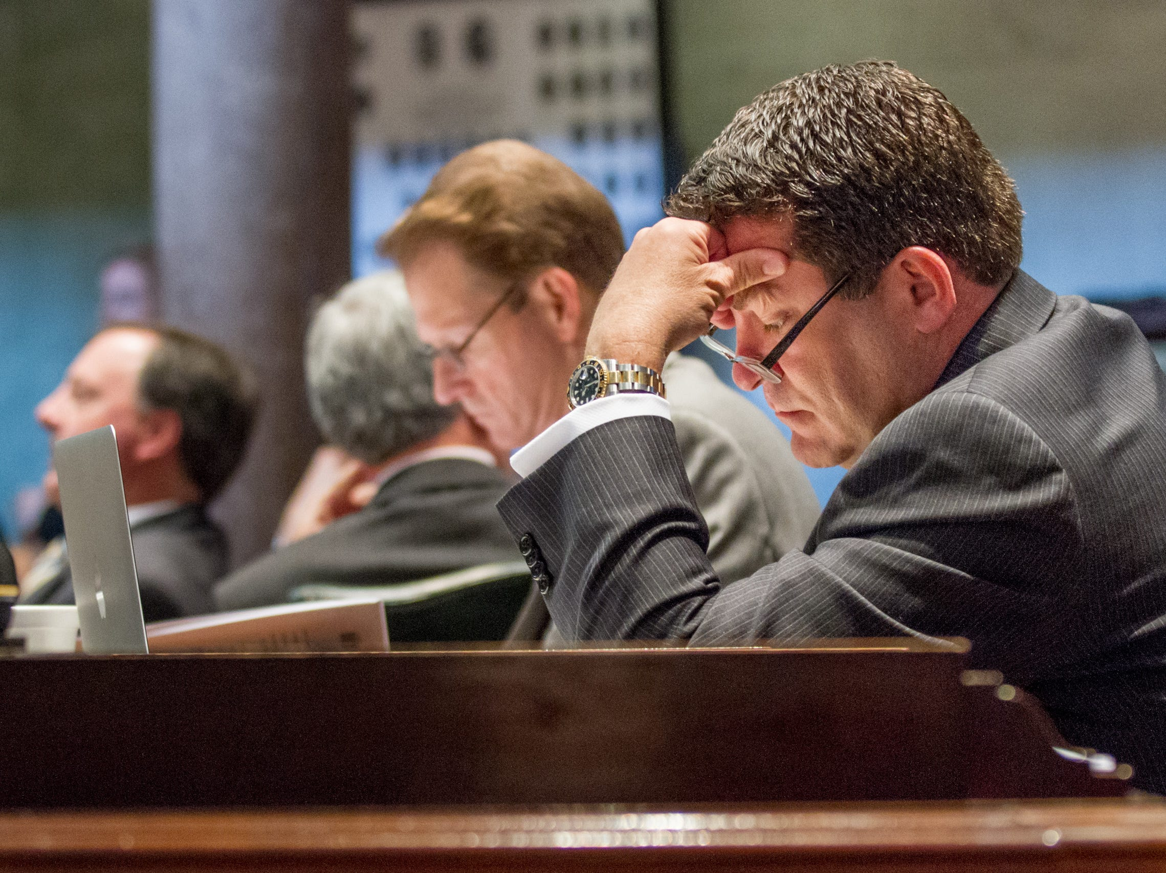 Republican Sen. Mark Green, R-Clarksville, sits at his desk in the Senate chamber in Nashville on April 17, 2013. The chamber earlier approved a resolution sponsored by Green to change the state constitution to shift the power to appoint the state attorney general from the Supreme Court to the General Assembly.