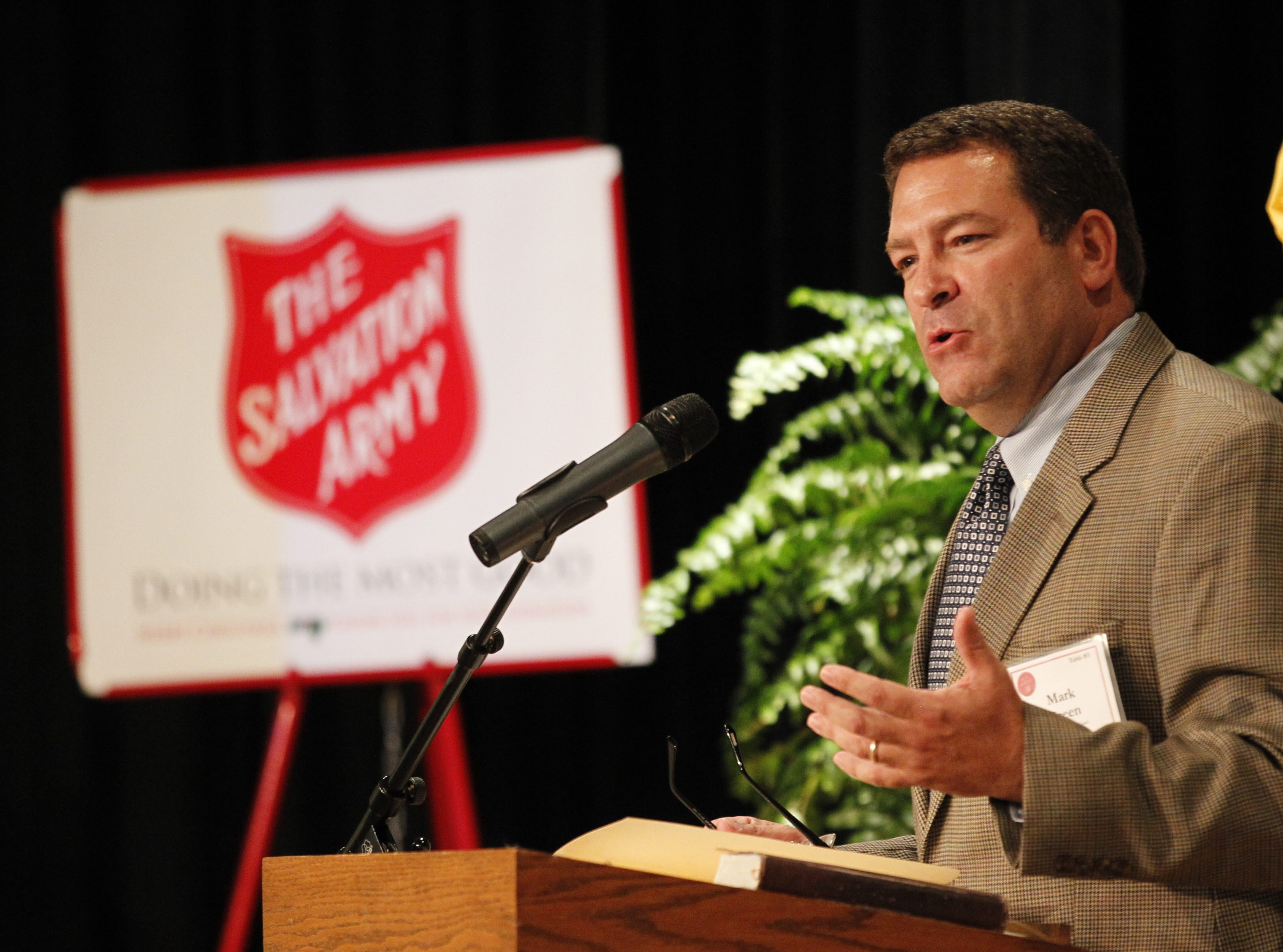 Mark Green speaks during the Salvation Army annual dinner at First Baptist Church in September 2012.