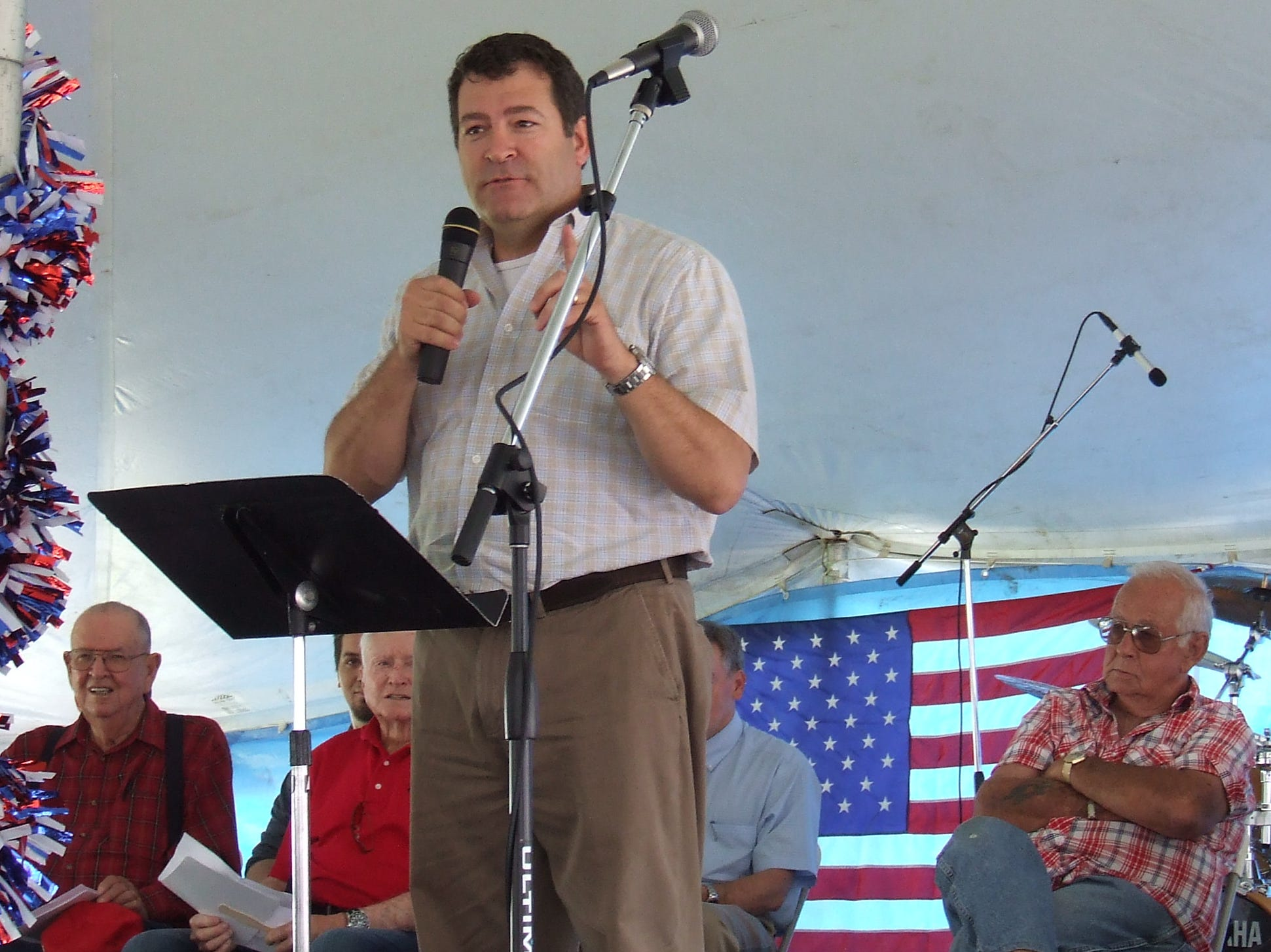 State Sen. Mark Green addresses the crowd at the Eagle Fest opening ceremonies in May 2013.