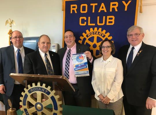(Left to right)Past President Phil Salerno; District Governor John Wilson; Club President Clark Lagemann; President Elect Liz Ensslin; and Past District Governor Dr. D. Michael Hart.