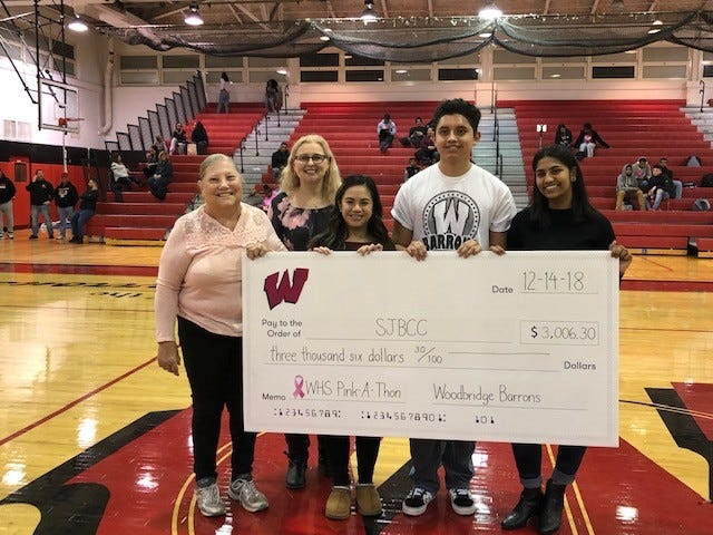 Woodbridge High School student Preethy John (right) recently presented a check for more than $3,000 to the South Jersey Breast Cancer Coalition from a fundraiser she conducted.