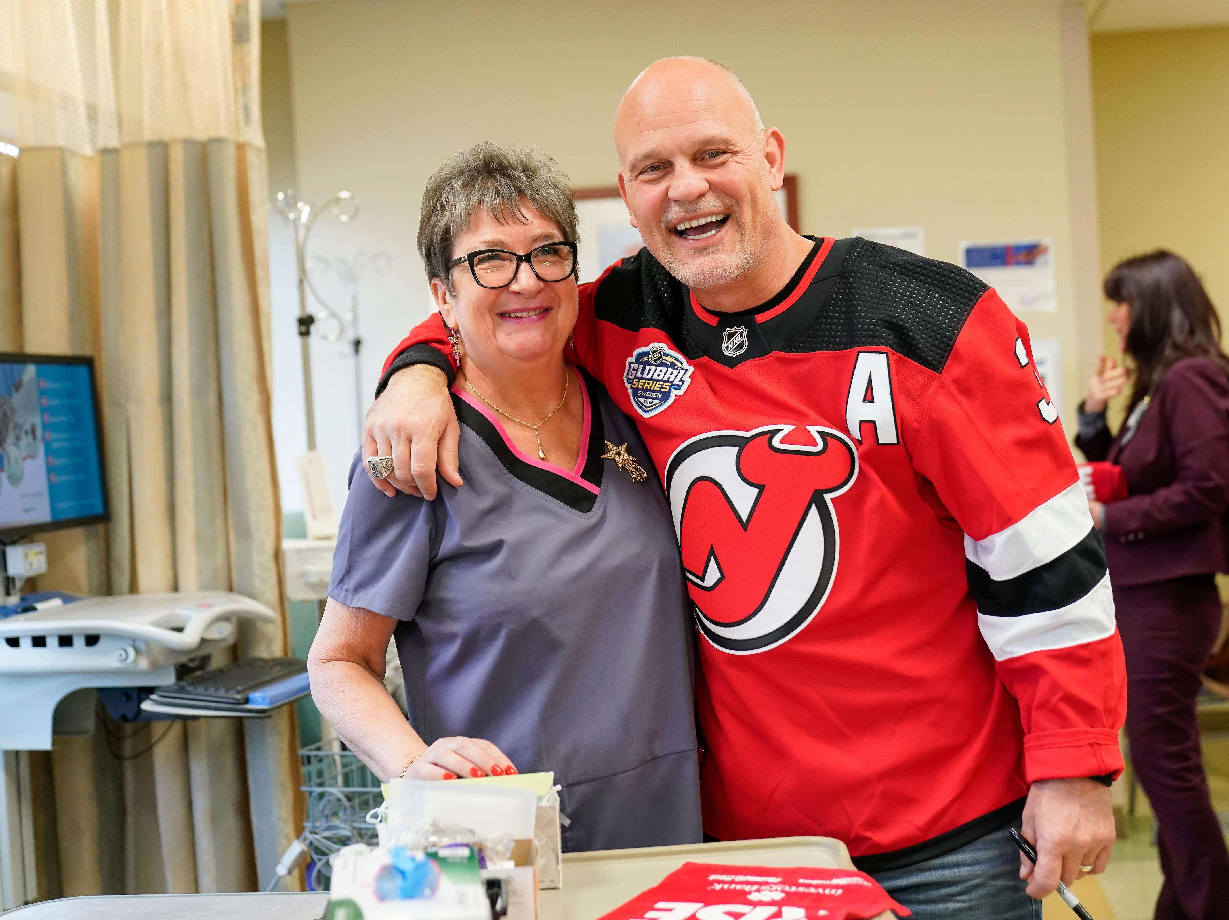 Three-time New Jersey Devils Stanley Cup winner Ken Danyeko was one of several Devils players, alumni and staff who visitedRWJ Barnabas Health sites Monday. At RWJUH Somerset, Daneyko charmed visitors, patients and staff alike visiting several oncology units at both the Steeplechase Cancer Center and Paul R.NardoniOncology Pavilionof the main hospital.