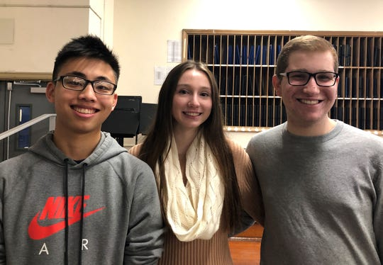 Left to right: Senior Kevin Li and junior Brooke Walden will perform with the 2019 All-Eastern Honors Orchestra next April in Pittsburgh. Senior Matthew Siroty will sing with the All-Eastern Honors Chorus
