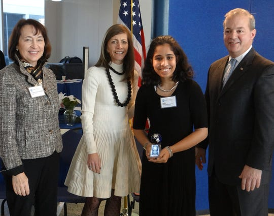 Left to right: DEP Commissioner Catherine R. McCabe, First Lady Tammy Snyder Murphy, Puja Vengadasalam and New Jersey Infrastructure Bank Executive Director David Zimmer.