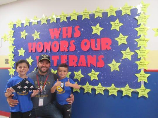 Left to right: Joseph, Edmund, and Nicholas Granton celebrating  Veterans Day 2018 at Whitehouse School, Whitehouse Station.