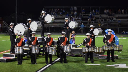 The Somerville High School marching bands' drums perform during the season.