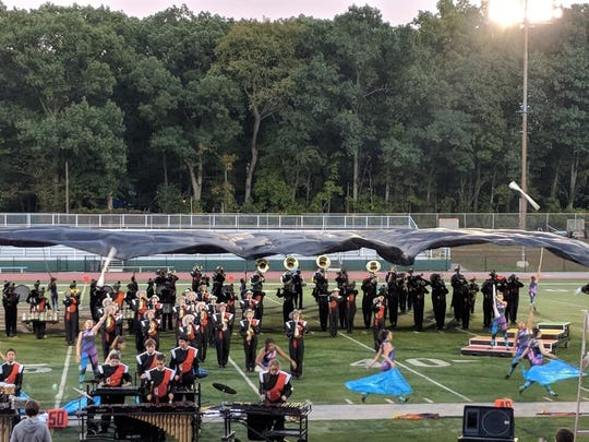 The Somerville High School's marching band in action.