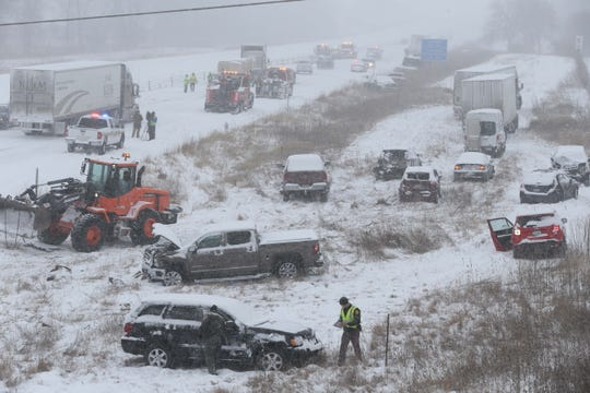 Southbound traffic is opening to one lane after pileup closing Interstate 35 southbound Monday, Feb. 5, 2018, in Ames during a snow storm expecting to dump 4-6 inches in central Iowa.
