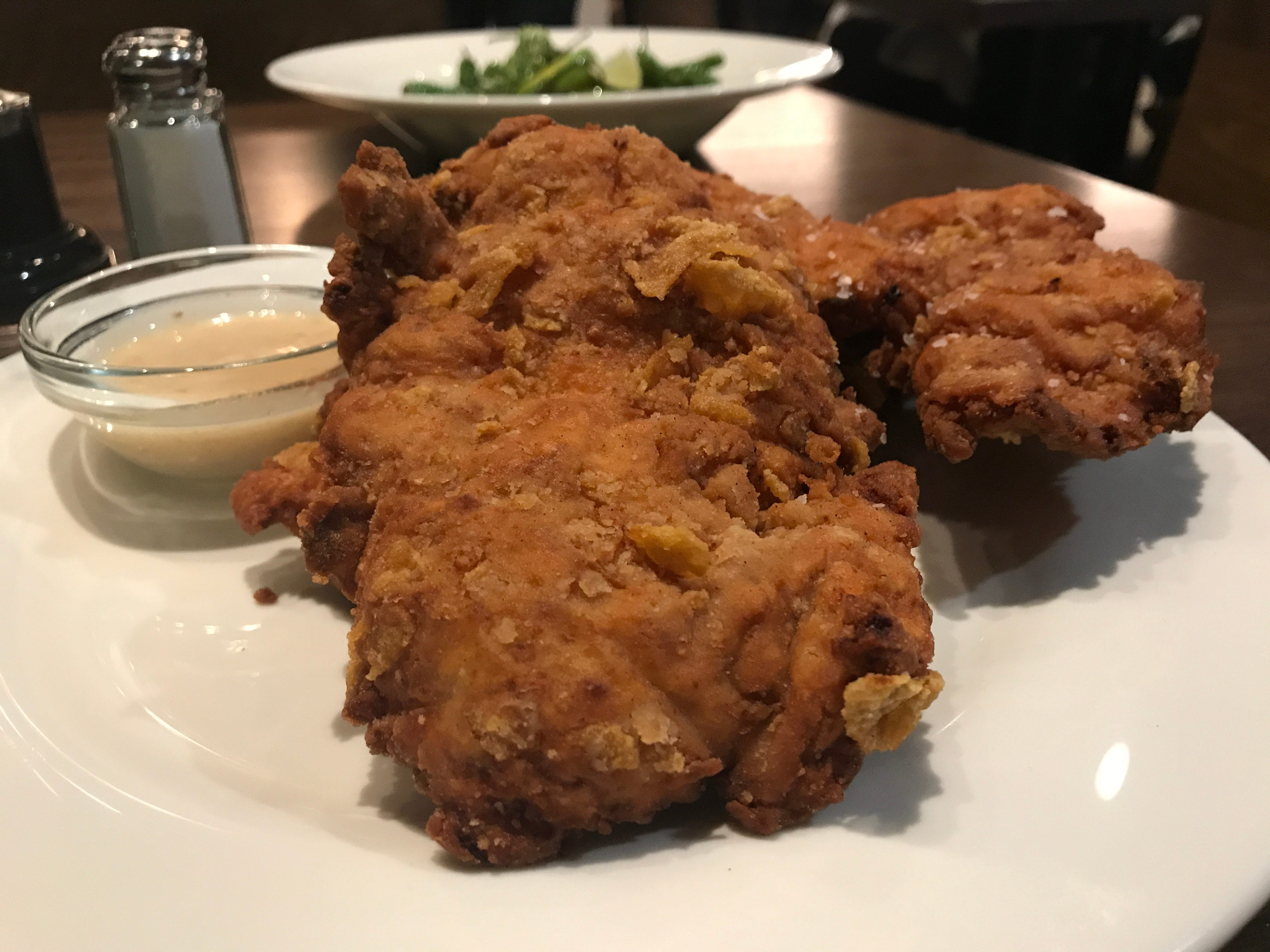 Corn flake-encrusted chicken tenders are the star of the show at Teddy Maroon's. You can order it as an appetizer, sandwich, on a salad or as an entree.