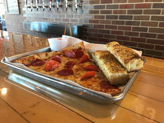 A pizza slice at Papa Keno's in Des Moines, Iowa.