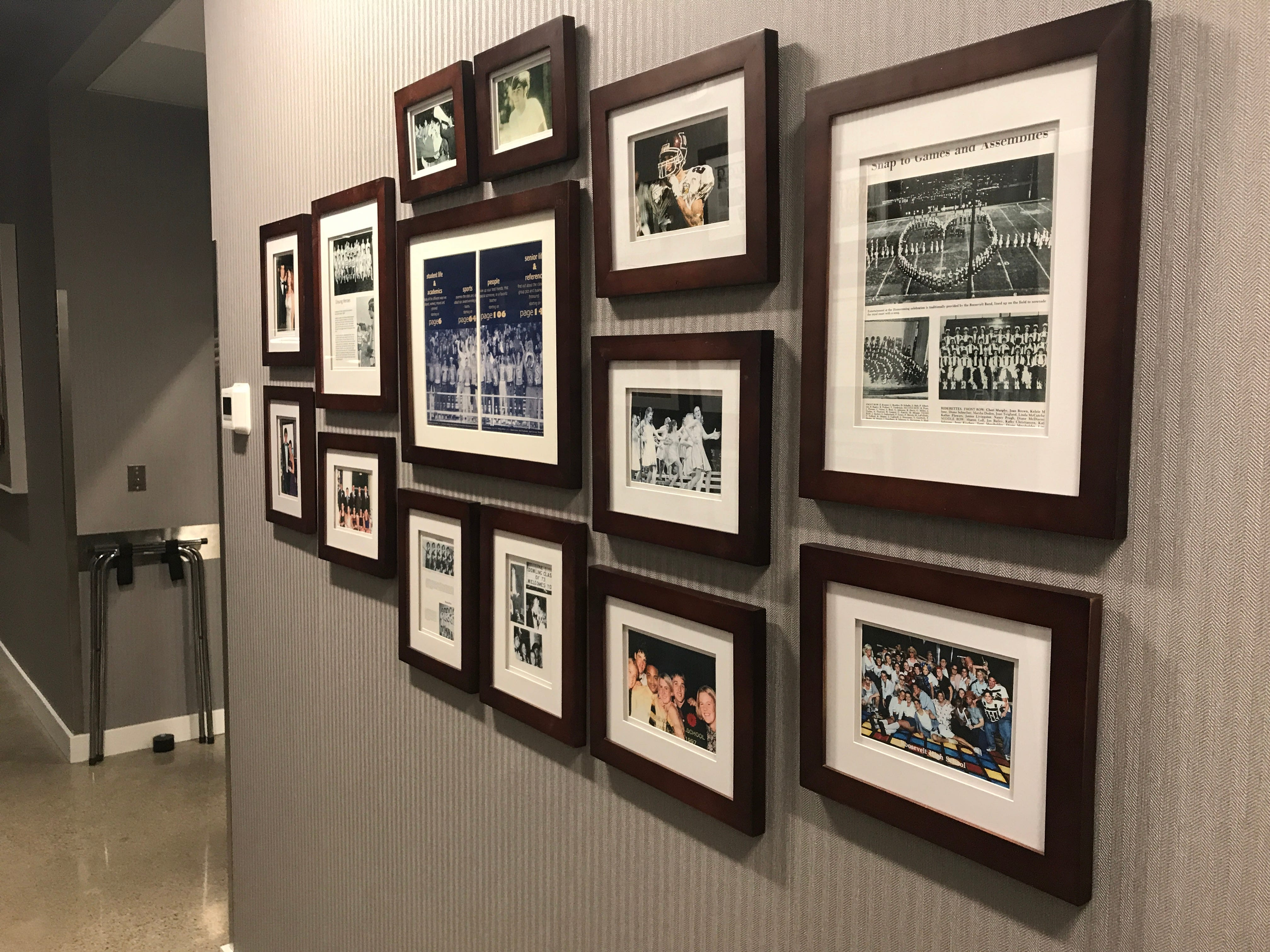 A wall at Teddy Maroon's features clippings from old yearbooks from Des Moines high schools.