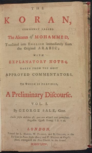 The title page of Thomas Jefferson's copy of the Koran, which U.S. Rep.-elect Rashida Tlaib, D-Detroit, will use at her ceremonial swearing-in.