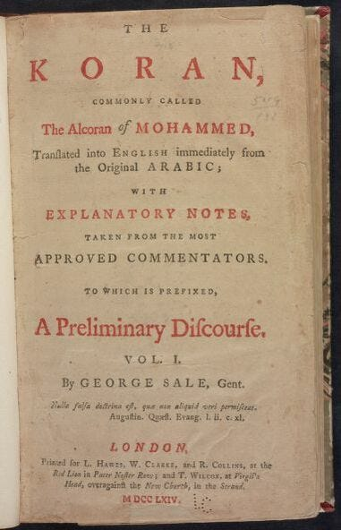 The title page of Thomas Jefferson's reproduction of the Koran, which U.S. Fetch.-elect Rashida Tlaib, D-Detroit, will use at her ceremonial swearing-in.