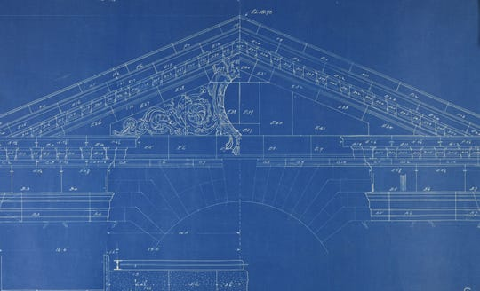 One of several drawings used during the construction of Michigan Central Station in 1912 that have been recovered by the Archives of Michigan. This drawing shows the main cornice and pediment for the central waiting room. It comes from the Consolidated Stone Company from Bedford, Indian.