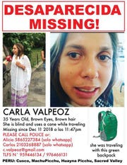 Carla Valpeoz, a 35-year-old, visually impaired Detroit resident has been reported missing while traveling in or around Cusco, Peru. According to family, her last known location was the Pariwana Hostel in Cusco on the morning of Dec. 12, 2018.