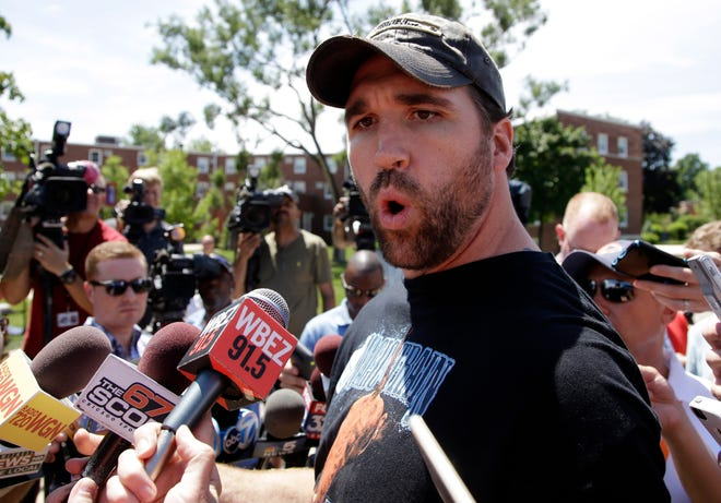 Jared Allen speaks during an NFL football training camp in Bourbonnais, Ill., in 2015.