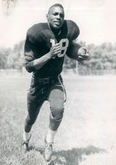 Wally Triplett, halfback, Detroit Lions is pictured in 1950.