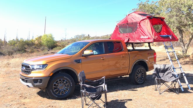 An elevated tent is one of the accessories Yakima developed for the Ranger.