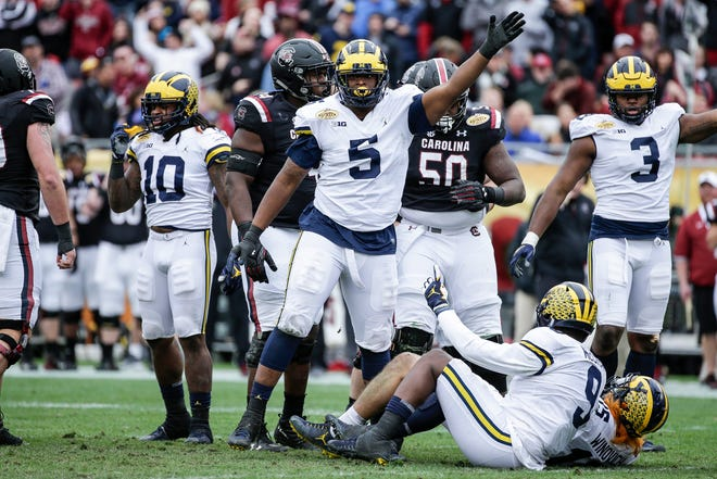 Michigan defensive lineman Aubrey Solomon in the Outback Bowl against South Carolina.