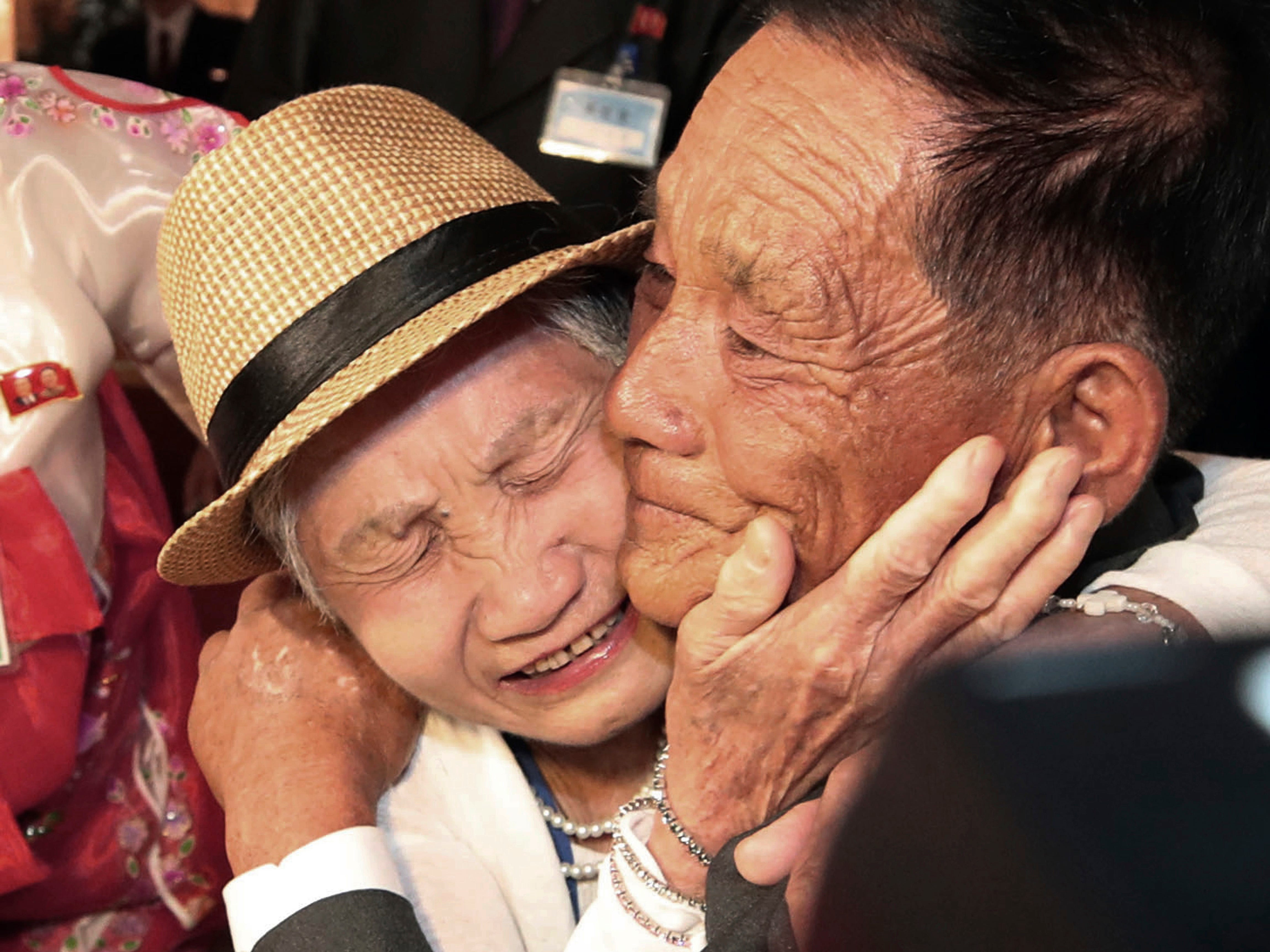 South Korean Lee Keum-seom, 92, weeps with her North Korean son, Ri Sang Chol, 71, during the Separated Family Reunion Meeting at the Diamond Mountain resort in North Korea on Aug. 20, 2018. Dozens of elderly South Koreans crossed the heavily fortified border into North Korea for heart-wrenching meetings with relatives most haven't seen since they were separated by the turmoil of the Korean War.