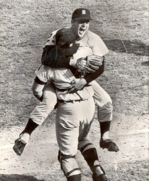 Mickey Lolich leaps into the arms of catcher Bill Freehan after the Tigers win Game 7 of the 1968 World Series.