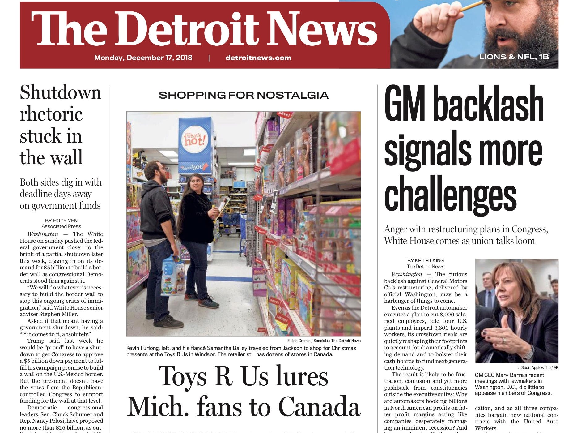 The front page of the Detroit News on December 17, 2018.