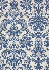 A pretty pattern in a shade of blue just may complement the tan and brown tones found in the shower tile.