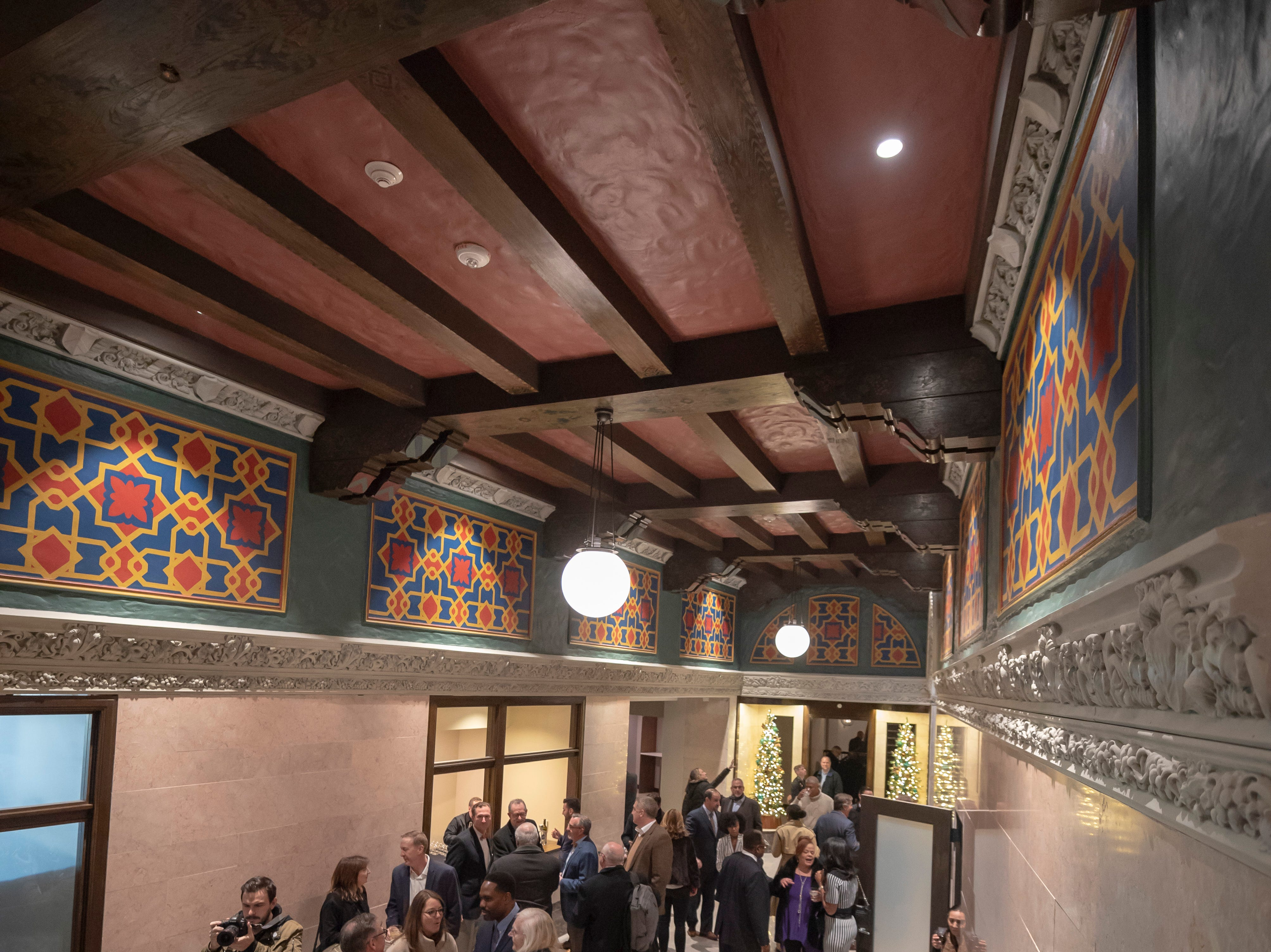 Guests get a look at the lobby of the renovated Metropolitan building.
