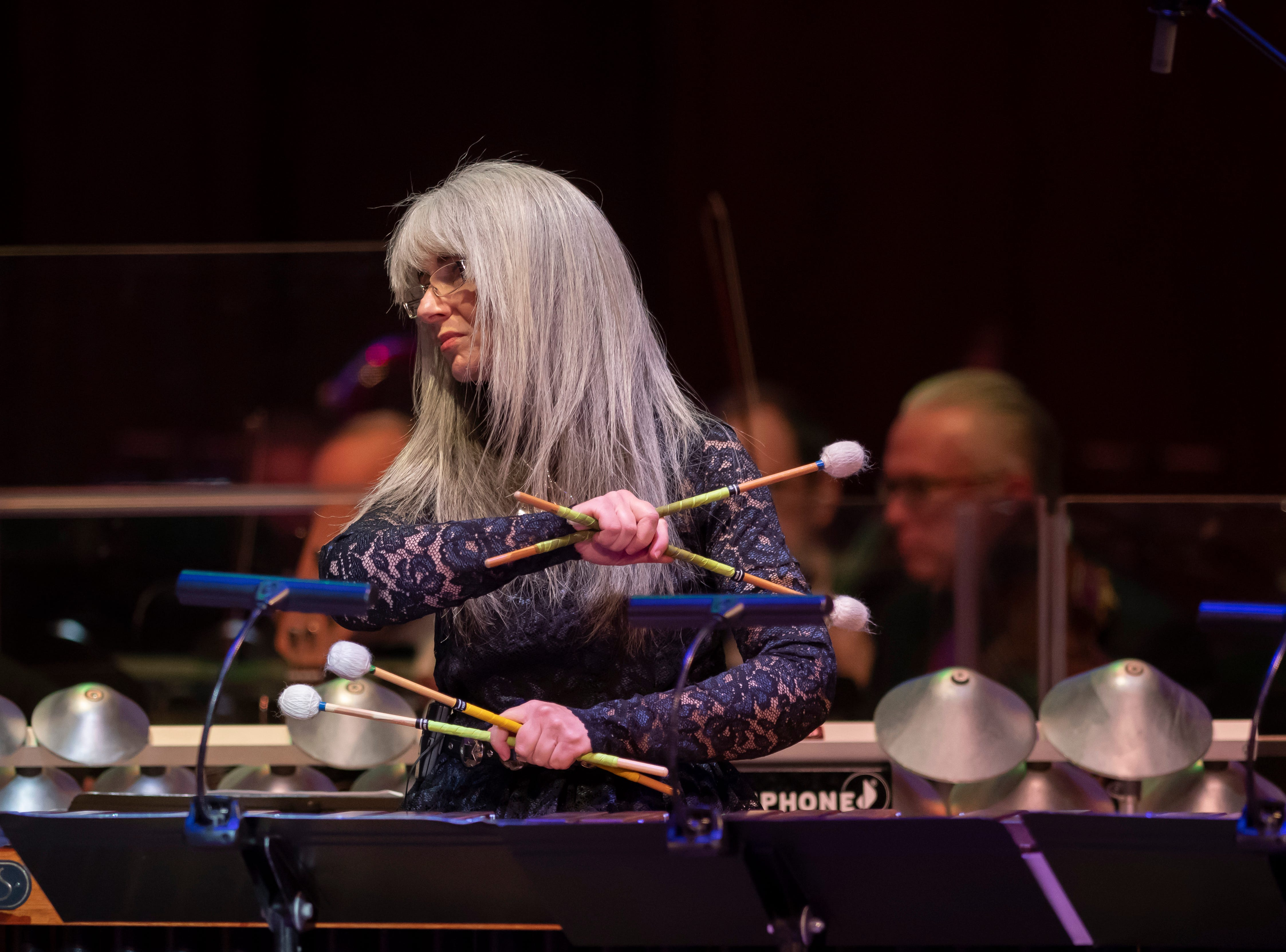 Percussionist Dame Evelyn Glennie performs during the Deaf and Loud Symphonic Experience at the Detroit Symphony Orchestra.