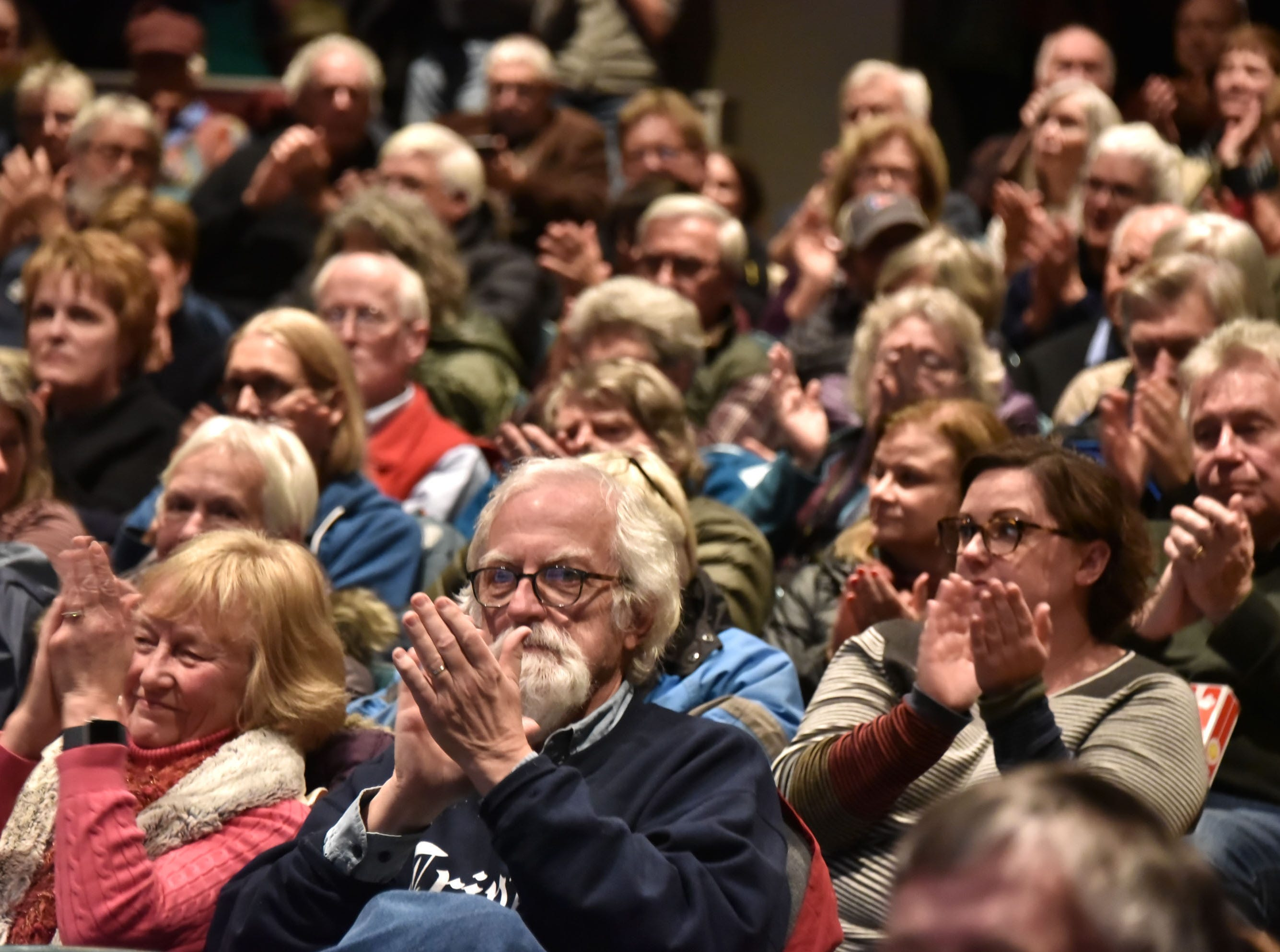 An overflow crowd fills the 200-seat Bay theater in Suttons Bay at a community forum Tuesday, Dec. 11, 2018 where discussion was presented in hopes of finding a new owner for the venue, which is closing at the end of the month. The Bay is the only movie house in Leelanau County.