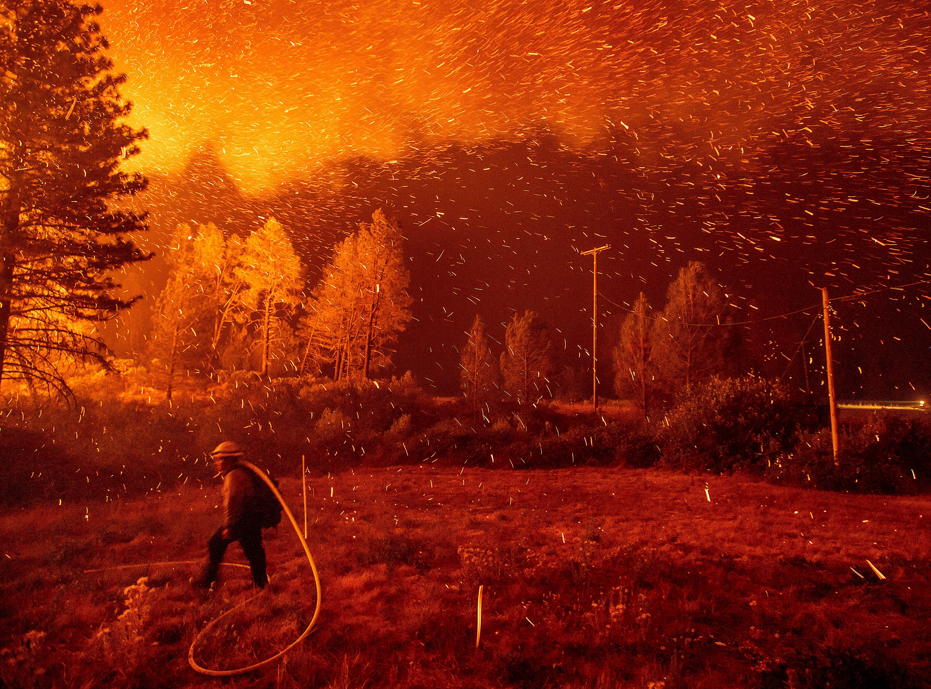 Embers fly above a firefighter hustling to control a backfire as the Delta Fire burns in the California's Shasta-Trinity National Forest on Sept. 6, 2018.