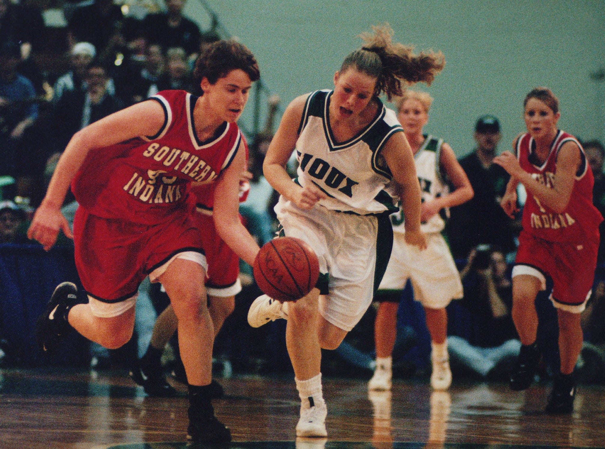 Eileen Weber dribbles upcourt during the 1997 NCAA Division II national championship game against North Dakota.
