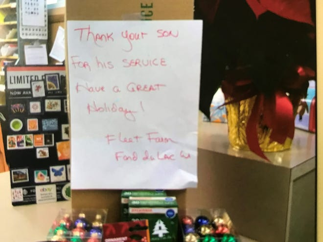 Staff at Fleet Farm helped Durham find Christmas decorations for her son, who is stationed in Iraq.
