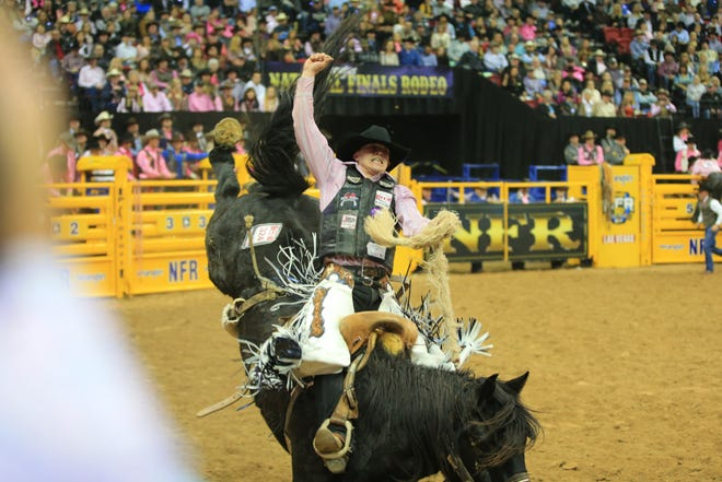 Chase Brooks earned 88 points for this ride during the fifth go-round of the National Finals Rodeo in Las Vegas.