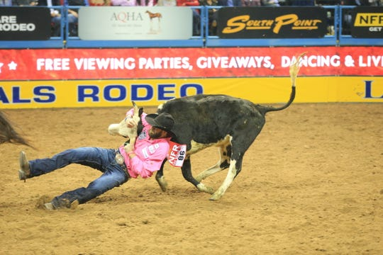 Bridger Chambers placed third in the fifth go-round of the National Finals Rodeo with a 3.7-second run.