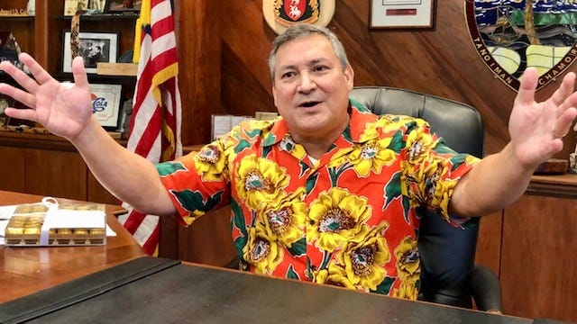 Gov. Eddie B. Calvo gestures as he talks about the challenges and the joys of serving as Guam's governor for eight years, during a Dec. 17, 2018 interview in his office at Adelup.