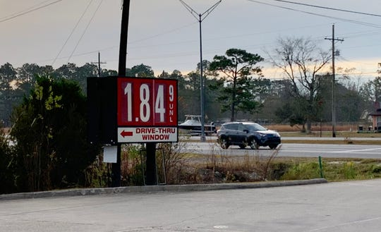 Gas prices in Ocean Springs, Miss., range from $1.84 to $1.91 per gallon on Monday, Dec. 17, 2018.