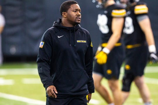 Iowa running backs coach Derrick Foster is seen during a NCAA football practice on Monday, Dec. 17, 2018, at the Hansen Football Performance Center in Iowa City.