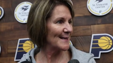 Kelly Krauskopf, the newly named Indiana Pacers assistant general manager, talks with media on Monday.
