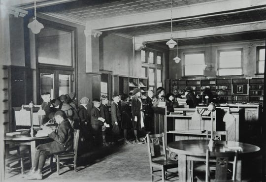 This undated photo shows the interior of the Spades Park Branch of the Indianapolis Public Library. It's one of two remaining Carnegie Libraries in the Indianapolis system.