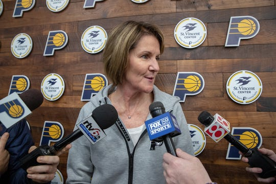 Indiana Pacers Assistant General Manager Kelly Krauskopf speaks with media at the St. Vincent Center on Monday, Dec. 17, 2018.