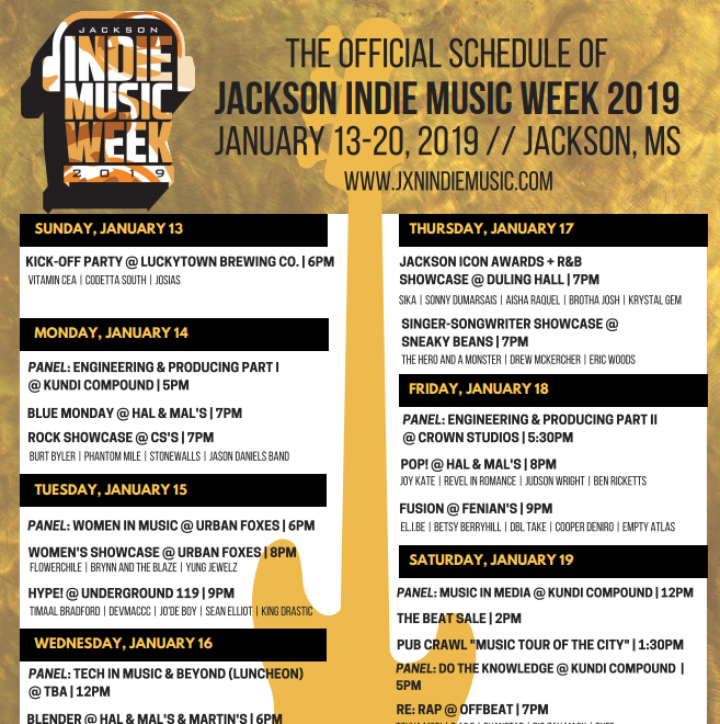 Jackson Indie Music Week is coming soon. Here's a list of performers, events and panels