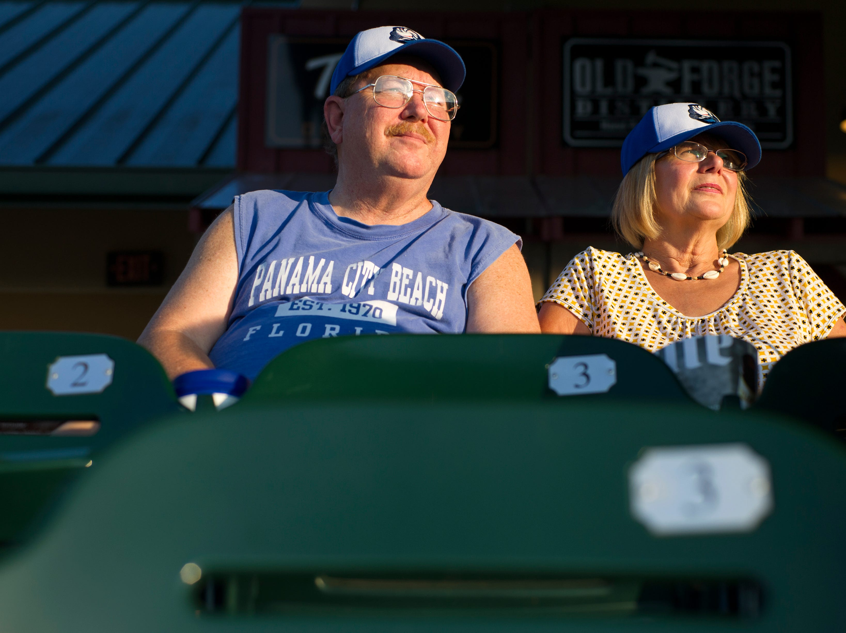 Gary and Sylvia Bovee relax during the Tennessee Smokies versus the Jacksonville Suns baseball game at Smokies Stadium in Kodak Tuesday, Sep. 1, 2015. The team's final home game was fan appreciation themed.