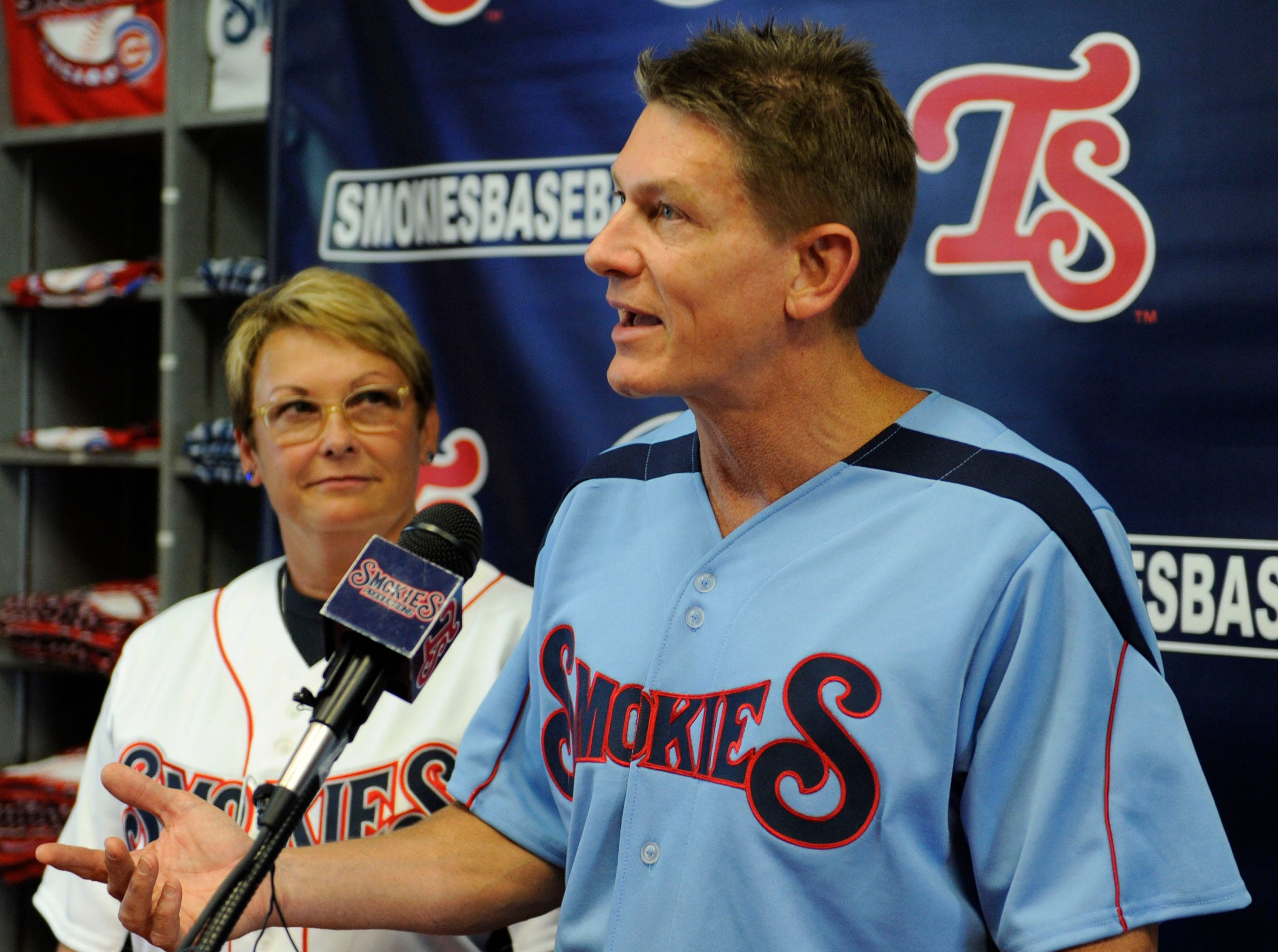 Randy Boyd, right, and his wife Jenny, were announced as the new owners of the minor league Tennessee Smokies baseball team during a press conference at the Kodak ball park, Friday, June 28, 2013.