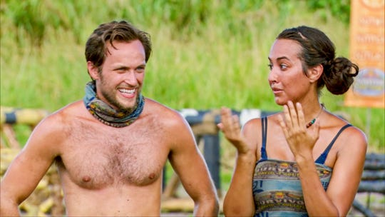 "Nick Wilson and Angelina Keeley are on-and-off allies on ""Survivor: David vs. Goliath."""