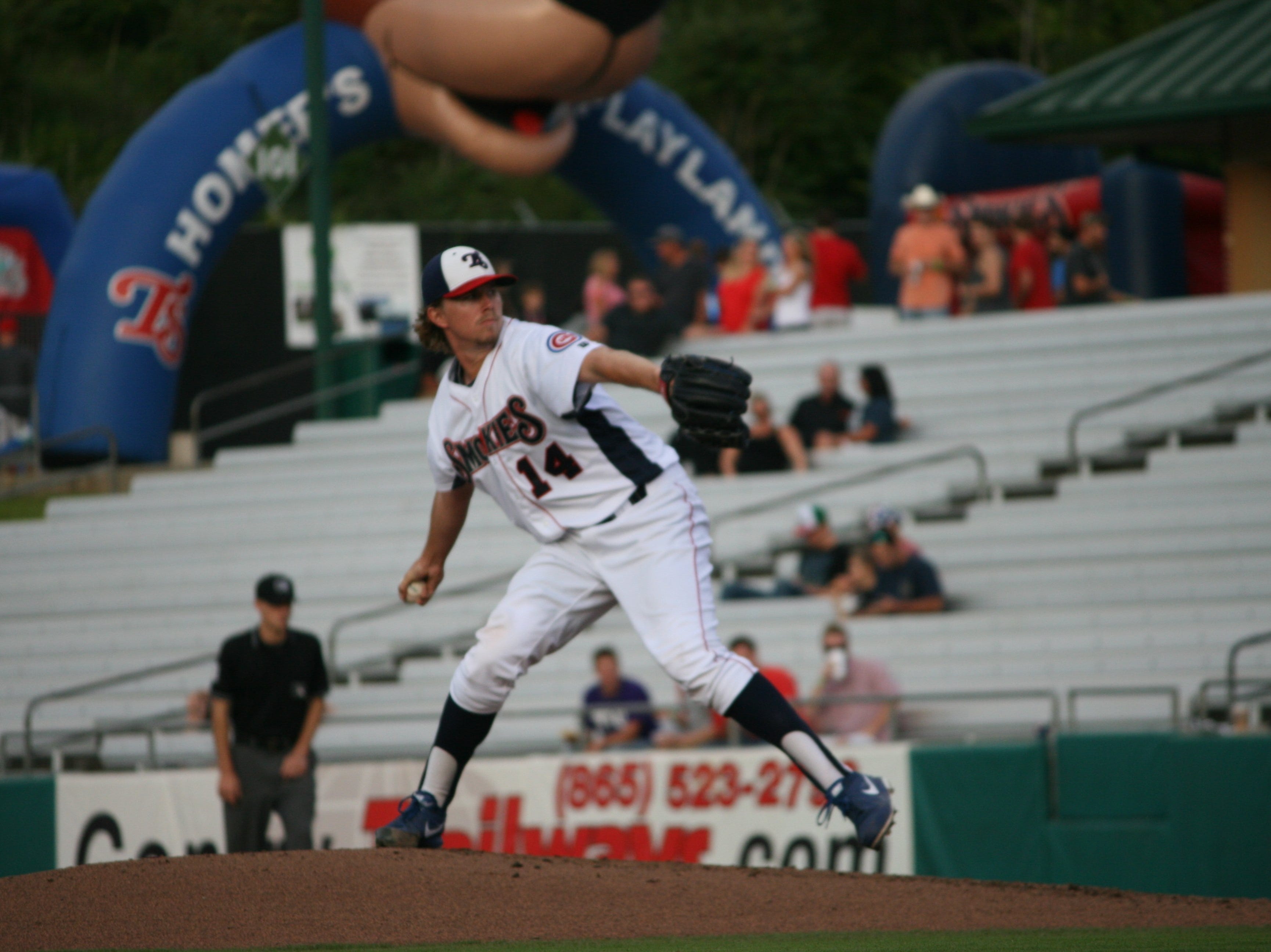 Pierce Johnson delivers a pitch during his six shutout innings in the Smokies' victory on Thursday night.